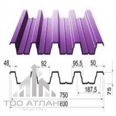 Профнастил  н75 (гофра 75) толщина (мм): 0,60, рабочая ширина (мм): 750, высота волны (мм): 75