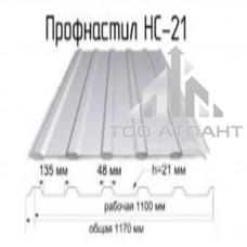 Профнастил  НС-21 (гофра 21) толщина (мм): 0,45, рабочая ширина (мм): 1100, высота волны (мм): 21