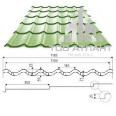 Металлочерепица Супермонтеррей толщина (мм): 0,4, рабочая ширина (мм): 1100, высота волны (мм): 25